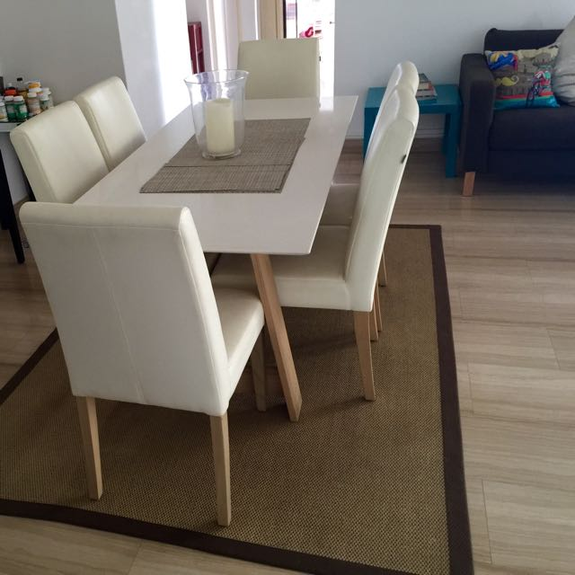 Stunning Quartz Stone Top Dining Table   6 Leather Chairs  Home   Furniture  on Carousell. Stunning Quartz Stone Top Dining Table   6 Leather Chairs  Home