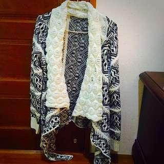 針織不規則下襬大衣