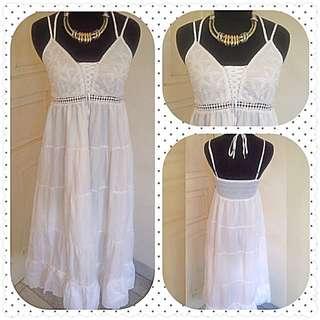 White Bohemian Long Dress - Boho Dress