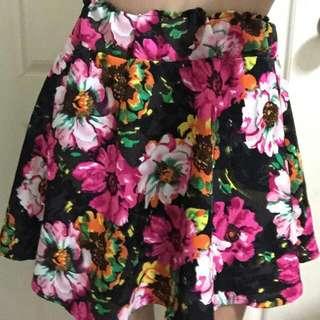 復古滿滿花朵雪紡短裙