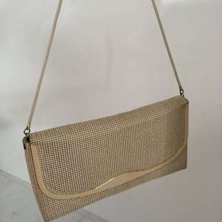 SOLD- Vintage Glomesh Gold Sling Bag