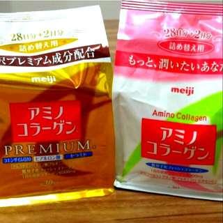 [超值組]日本原裝明治meiji膠原蛋白粉補充包30日份+白金尊爵版膠原蛋白粉補充包30日份