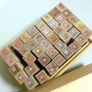 含運🍂韓國可愛小印章 40枚 手帳好朋友 木頭橡皮章