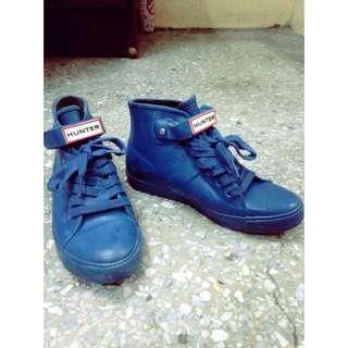 含運 Hunter 雨鞋 藍色短靴 24 二手