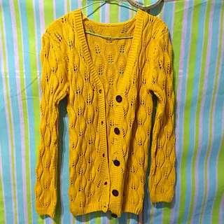 針織毛衣外套(芥末黃)