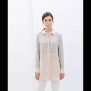 ZARA 雪紡拼接設計款襯衫 (歐美長袖撞色襯衫