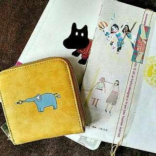 八涂 插畫風 可愛動物洗舊感皮質零錢包/小皮夾[共四款😍】