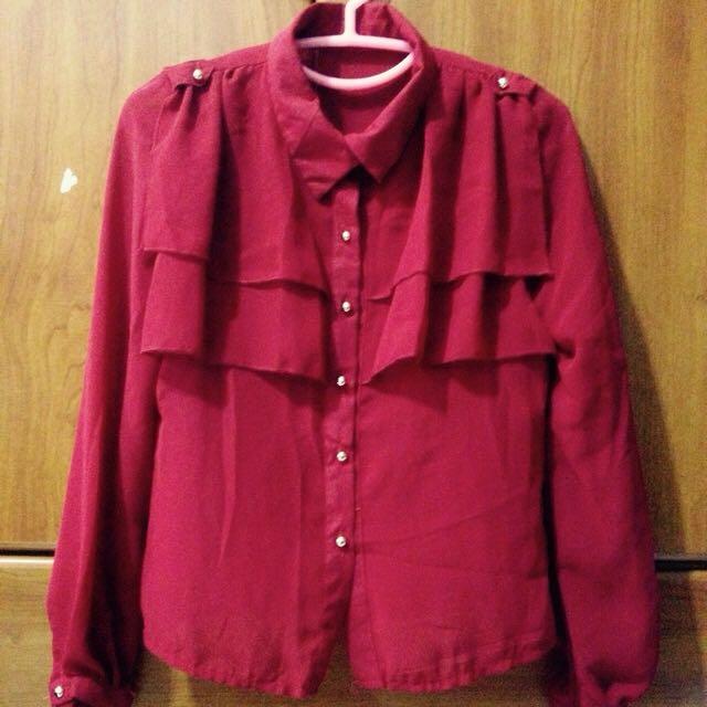 (含運)全新✨紅色雪紡襯衫