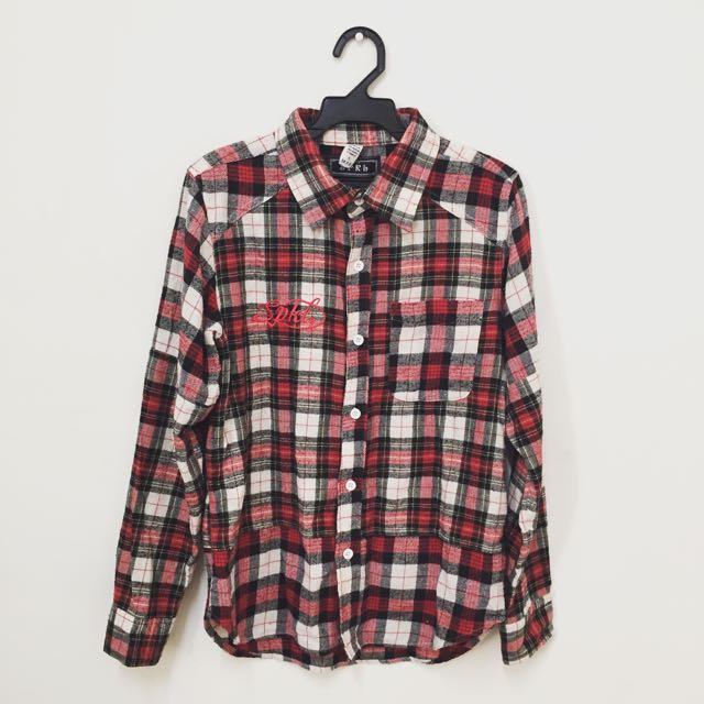 格子格紋長袖襯衫