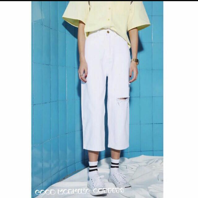 白色寬管褲