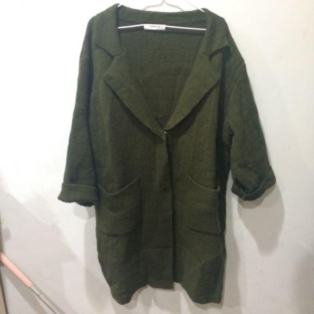 墨綠厚磅毛衣外套
