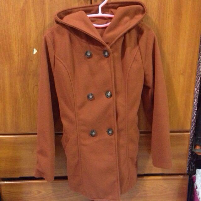 降⬇️近全新✨橘色連帽雙排扣綁帶毛呢軍裝外套