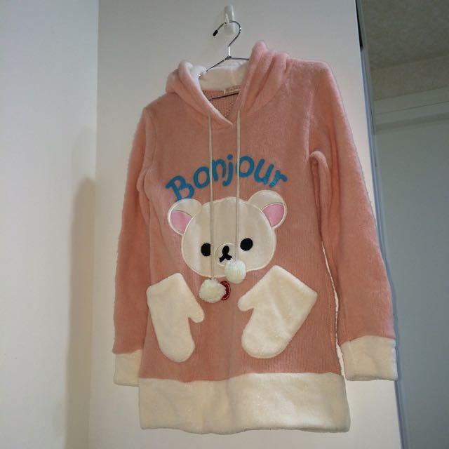 拉拉熊/懶熊妹粉紅毛絨球球連帽毛衣