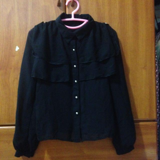 全新✨ 黑色雪紡襯衫