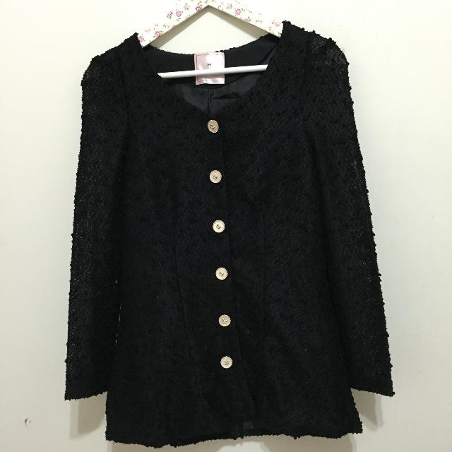 東京著衣 黑色毛尼金蔥上衣 外罩
