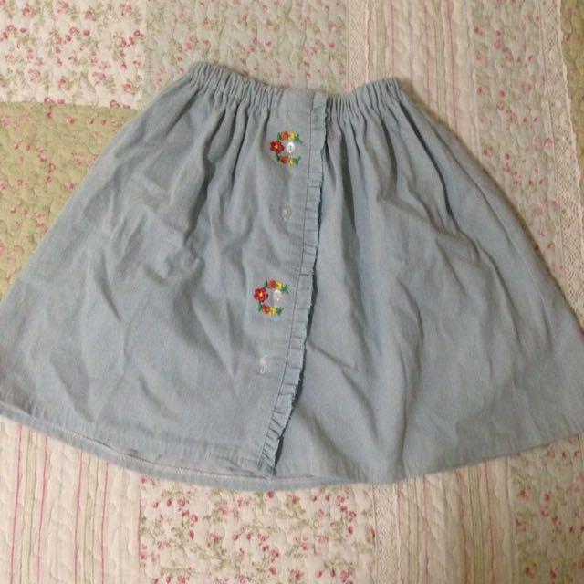 牛仔 刺繡花短裙 淺藍