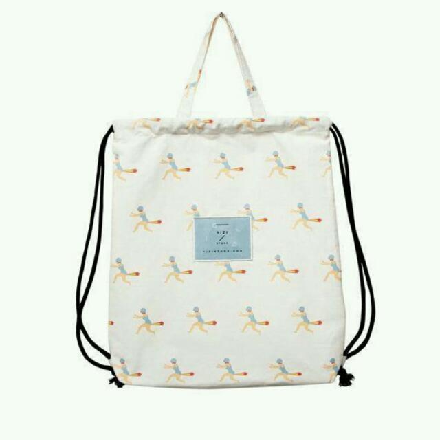 全新 Yizi 白色 火箭人 手提袋/後背袋/束口輕便袋