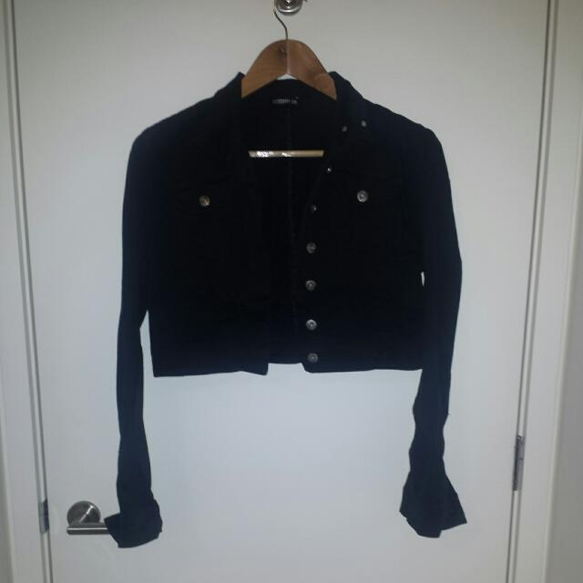 Black Denim Crop Jacket S/M