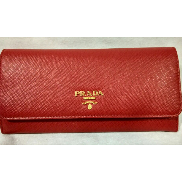 fdb64ffee683 ... shop brand new authentic prada 1m1132 saffiano metallic gold leather  flap wallet in red fuoco womens ...