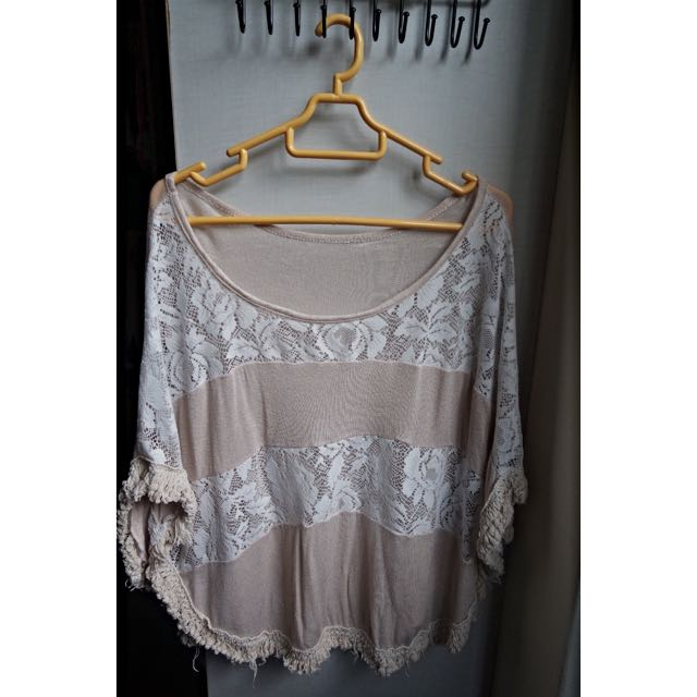 Camel and White Lace Patterned Batwing Top