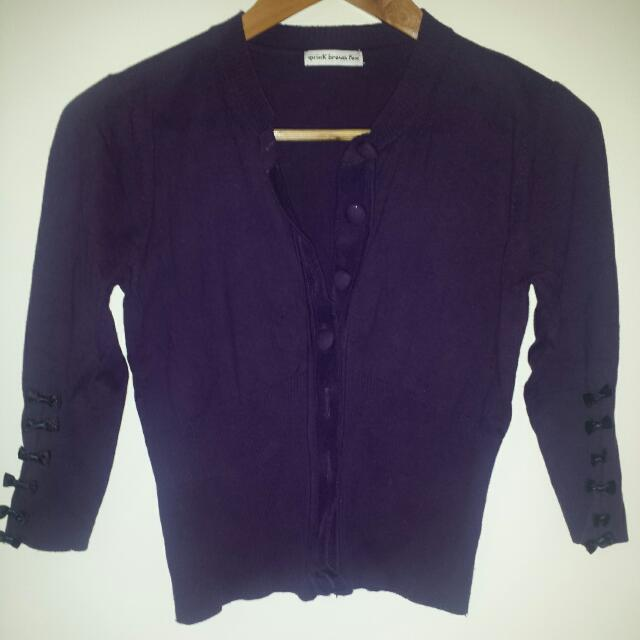 Cardigan Purple With Bow Detail S/M