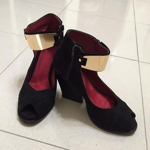 DONNA魚口細絨面金屬踝飾楔型鞋~37號九成新