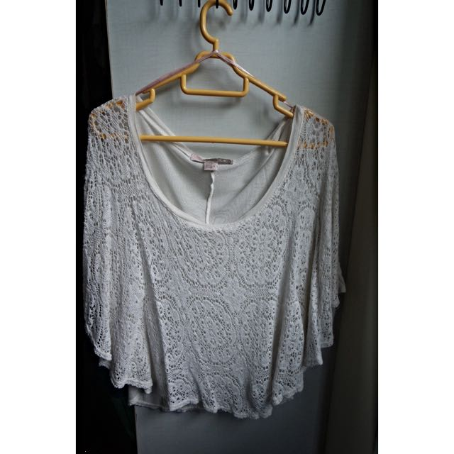 F21 White Lace Batwing Top