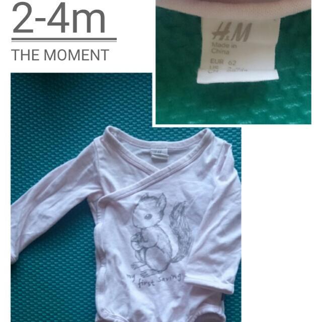 二手!H&M嬰兒包屁衣粉紅色
