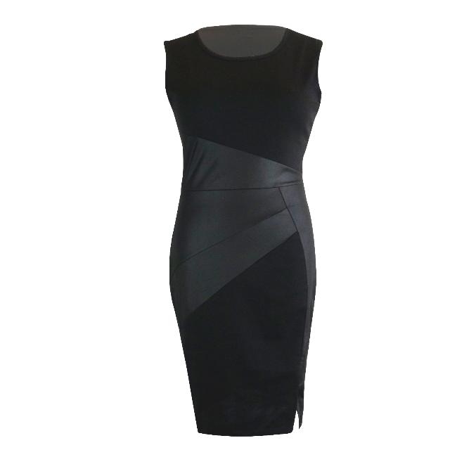 bf3da0c4152526 Leather Sleeveless Bodycon Dress