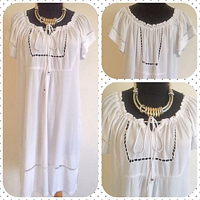 White Boho Dress - Bohemian Dress