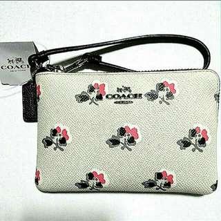 Coach Corner Zip Wristlet in Printed Crossgrain Leather 52926 - Authentic