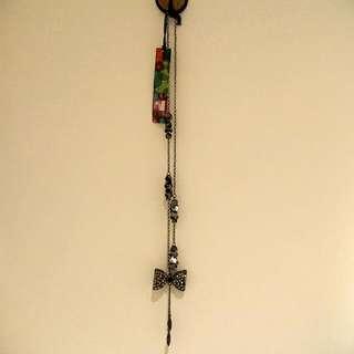 Indigo Dark Grey Bow Necklace