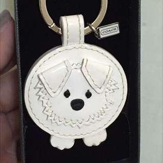 COACH白色小狗鑰匙圈