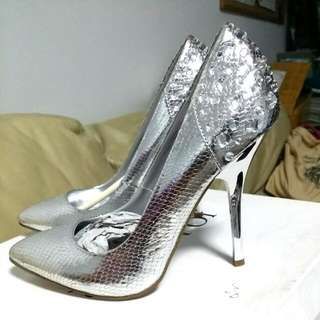 Silver Crystal Bling High Heels.
