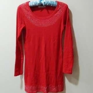 優雅紅色亮片彈性長上衣