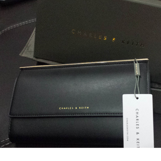 Charles & Keith  FRAME TOP WALLET  CK6-10680261_Black (Brand New)