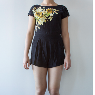 Motel Winnie Playsuit in Black Placement Rose