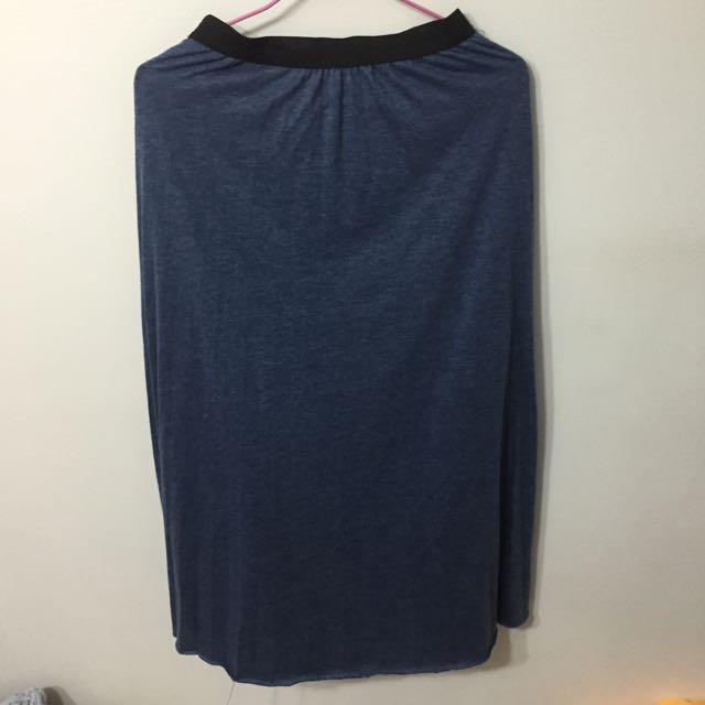 藍色百褶棉質長裙