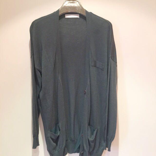 墨綠色正韓針織長版外套