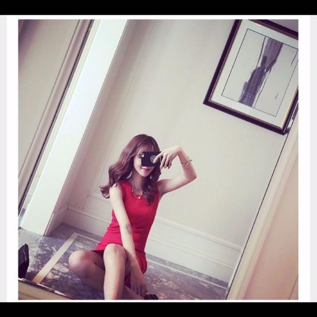 紅色針織背心裙