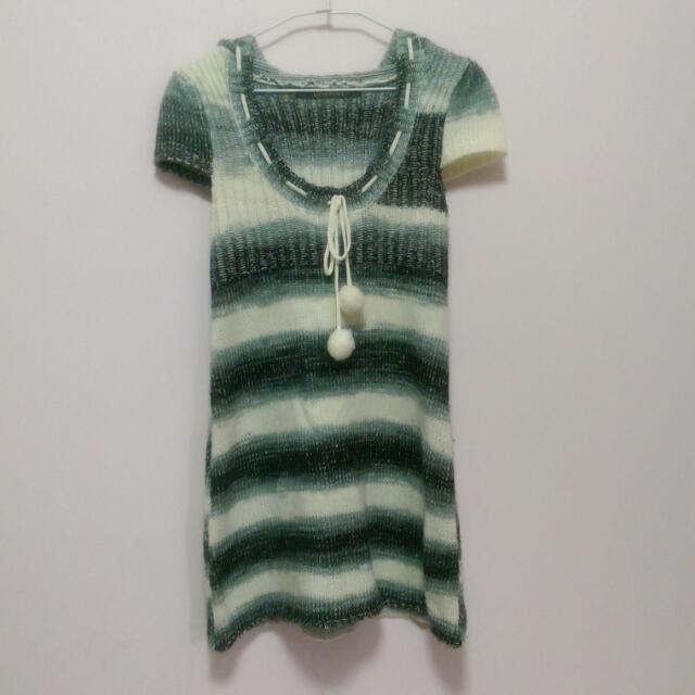 長版條紋針織衣