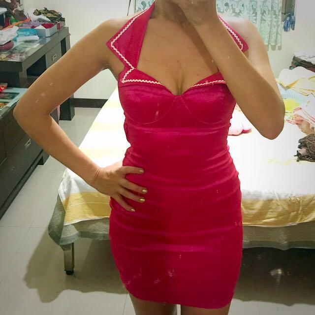 澳洲設計師品牌 復古櫻桃紅 水手領露背包臀性感小禮服