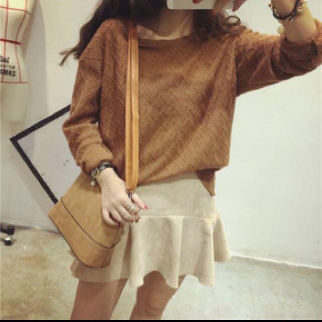 全新 韓復古寬鬆版型摩卡咖啡薄型毛衣 秋裝