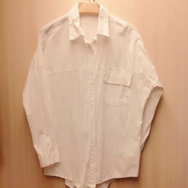 長袖 寬鬆 長版 白襯衫