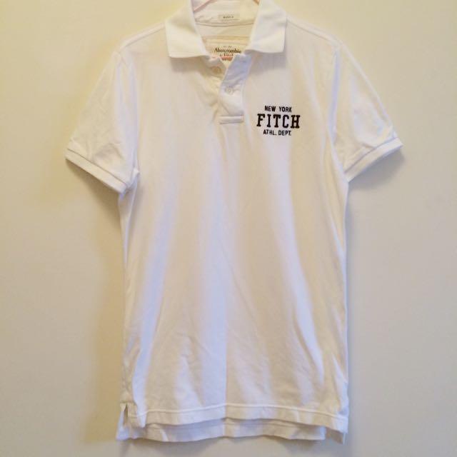 a&f白色polo衫