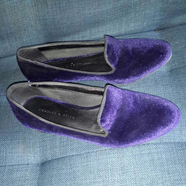 Charles And Keith Velvet Violet Shoes