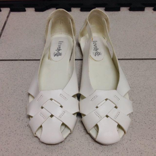 降價了😑Lovely 和尚平底娃娃鞋 白色 編織 涼鞋