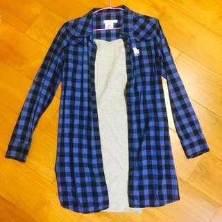 長版藍色小精靈襯衫