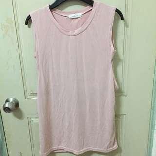 韓國代購購入裸粉無袖假兩件背心