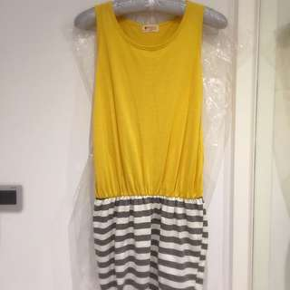 無袖橫條洋裝-亮黃色